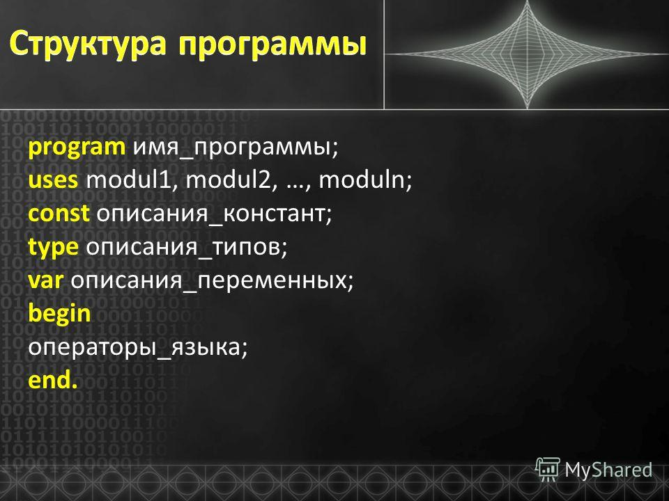 program имя_программы; uses modul1, modul2, …, moduln; const описания_констант; type описания_типов; var описания_переменных; begin операторы_языка; end.