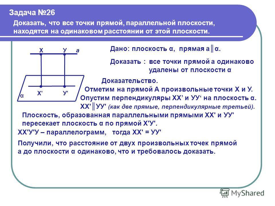 Задача 26 Доказать, что все точки прямой, параллельной плоскости, находятся на одинаковом расстоянии от этой плоскости. α Х' Х У' Уа Дано:плоскость α,прямая аα. Доказать :все точки прямой а одинаково удалены от плоскости α Доказательство. Отметим на