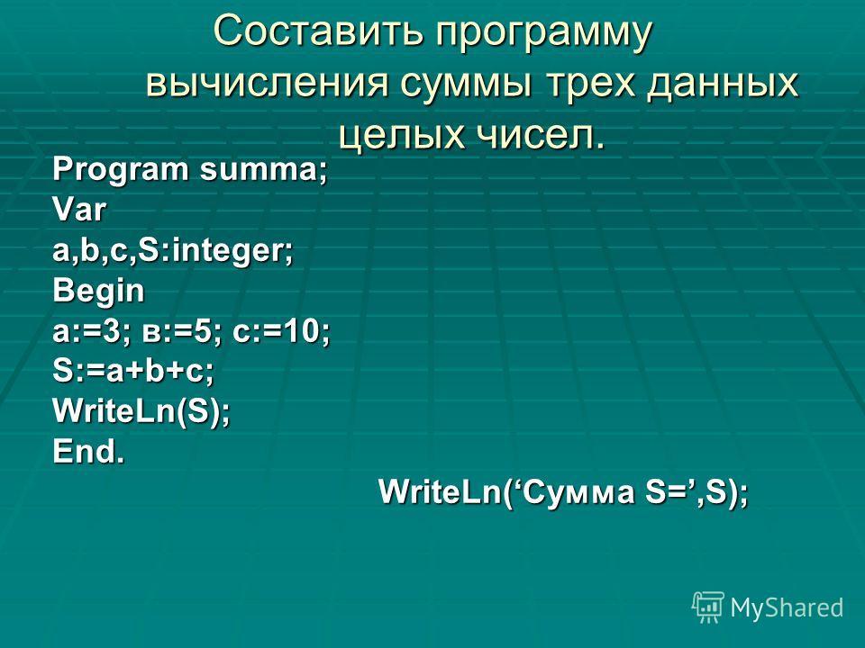 Составить программу вычисления суммы трех данных целых чисел. Program summa; Vara,b,c,S:integer;Begin а:=3; в:=5; с:=10; S:=a+b+c;WriteLn(S);End. WriteLn(Сумма S=,S); WriteLn(Сумма S=,S);