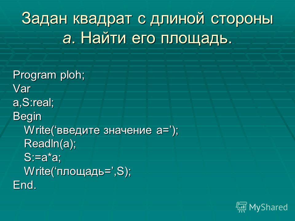 Задан квадрат с длиной стороны a. Найти его площадь. Program ploh; Vara,S:real;Begin Write(введите значение a=); Readln(a);S:=a*a; Write(площадь=,S); End.