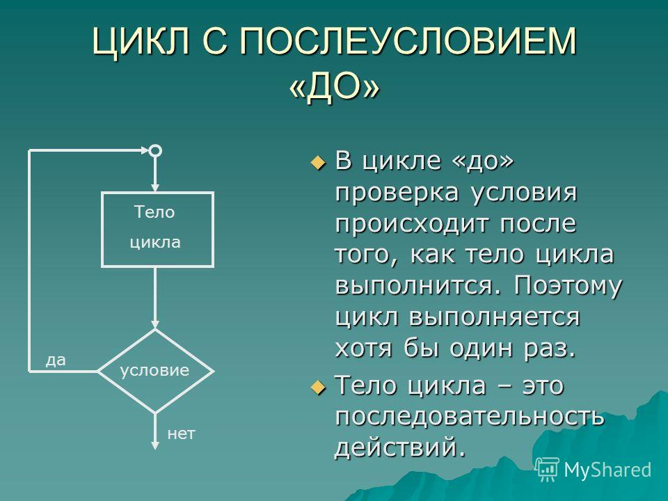 ЦИКЛ С ПОСЛЕУСЛОВИЕМ «ДО» В цикле «до» проверка условия происходит после того, как тело цикла выполнится. Поэтому цикл выполняется хотя бы один раз. Тело цикла – это последовательность действий. Тело цикла условие да нет