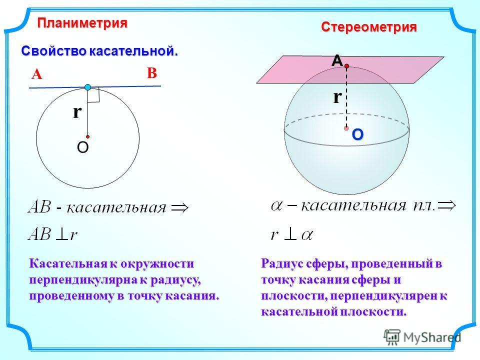 Свойство касательной. Касательная к окружности перпендикулярна к радиусу, проведенному в точку касания. Планиметрия СтереометрияАО О А В r r Радиус сферы, проведенный в точку касания сферы и плоскости, перпендикулярен к касательной плоскости.
