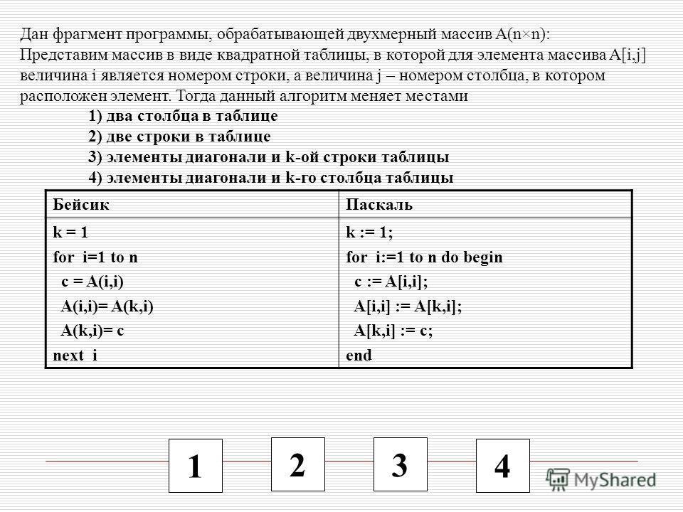 1 2 3 4 Дан фрагмент программы, обрабатывающей двухмерный массив A(n×n): Представим массив в виде квадратной таблицы, в которой для элемента массива A[i,j] величина i является номером строки, а величина j – номером столбца, в котором расположен элеме