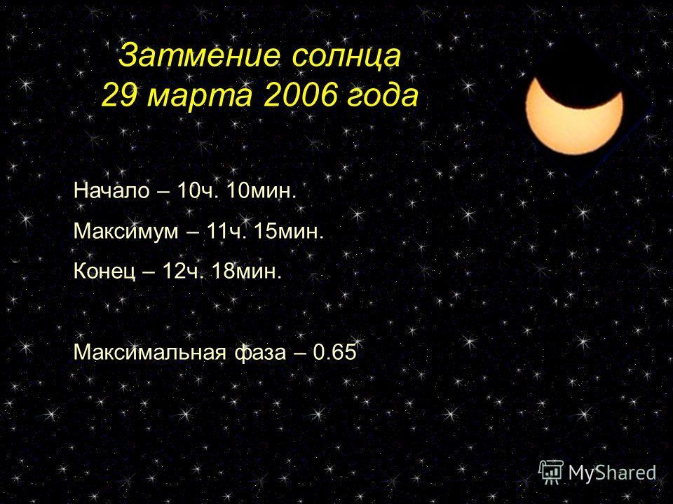Затмение солнца 29 марта 2006 года Начало – 10ч. 10мин. Максимум – 11ч. 15мин. Конец – 12ч. 18мин. Максимальная фаза – 0.65