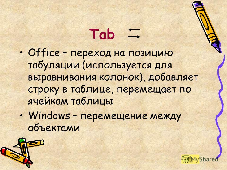 Tab Office – переход на позицию табуляции (используется для выравнивания колонок), добавляет строку в таблице, перемещает по ячейкам таблицы Windows – перемещение между объектами