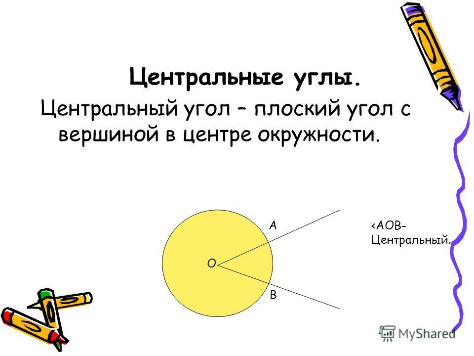 Центральные углы. Центральный угол – плоский угол с вершиной в центре окружности. О А В