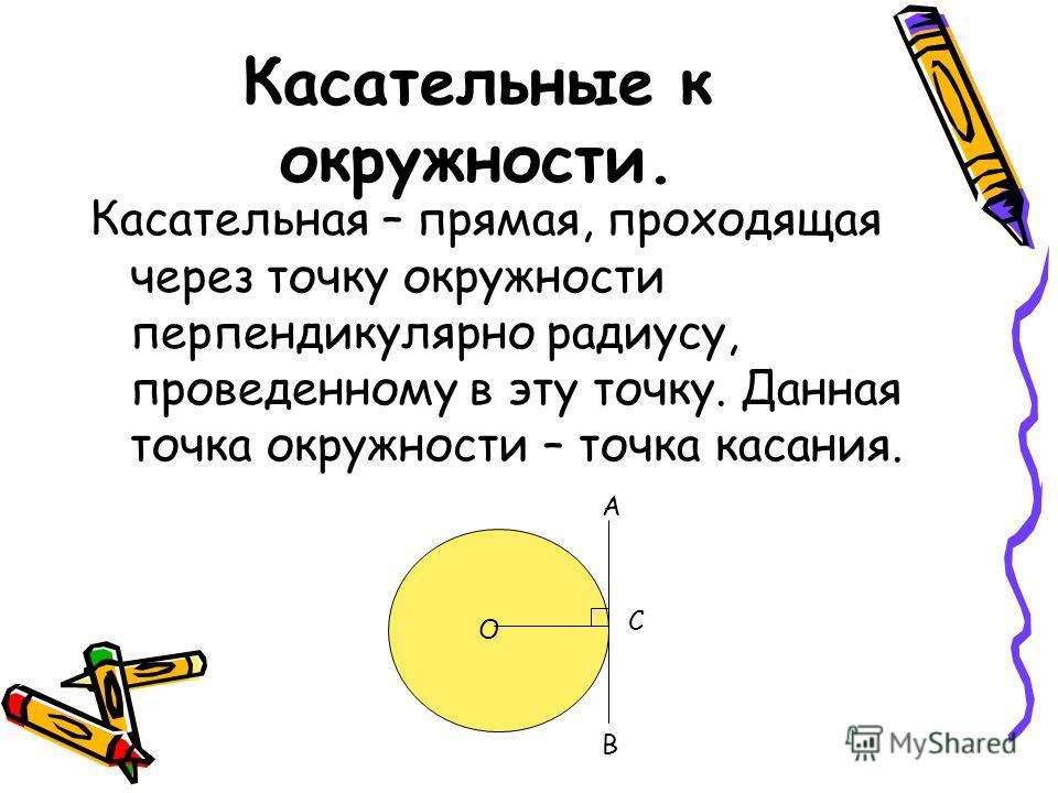 Касательные к окружности. Касательная – прямая, проходящая через точку окружности перпендикулярно радиусу, проведенному в эту точку. Данная точка окружности – точка касания. О С В А