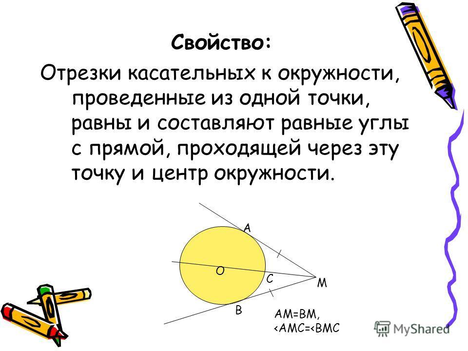 Свойство: Отрезки касательных к окружности, проведенные из одной точки, равны и составляют равные углы с прямой, проходящей через эту точку и центр окружности. А В М О АМ=ВМ,