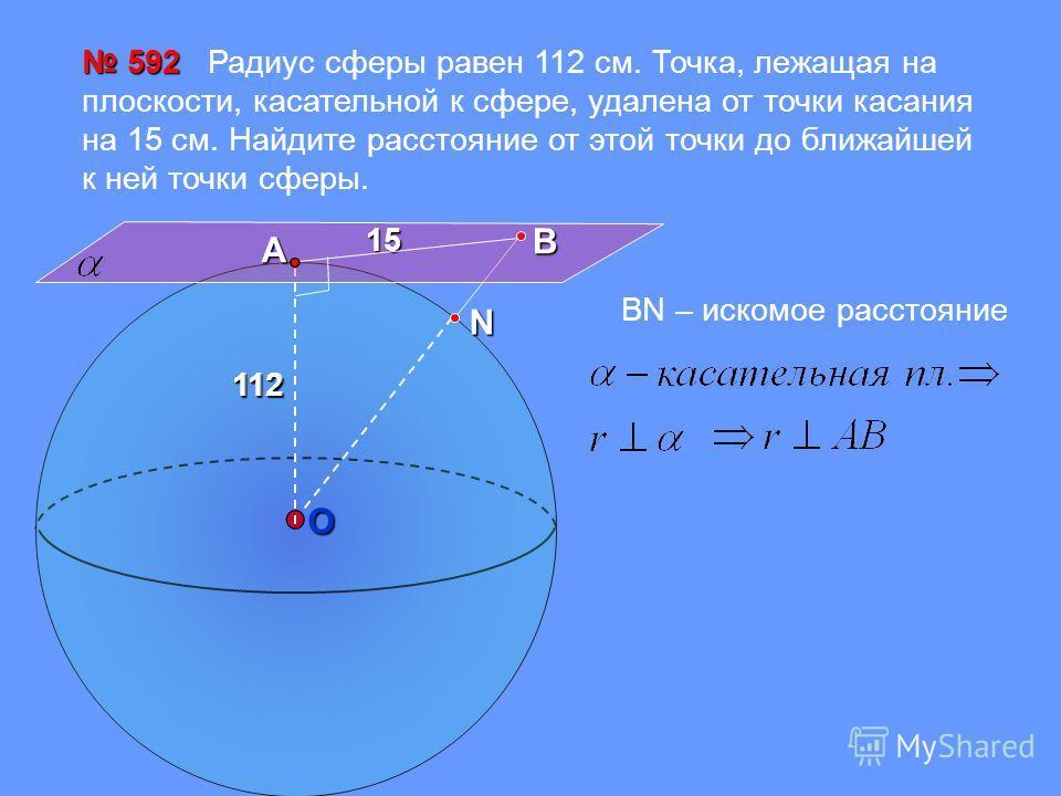 112 112 592 592 Радиус сферы равен 112 см. Точка, лежащая на плоскости, касательной к сфере, удалена от точки касания на 15 см. Найдите расстояние от этой точки до ближайшей к ней точки сферы.15ВА 112 ОN ВN – искомое расстояние