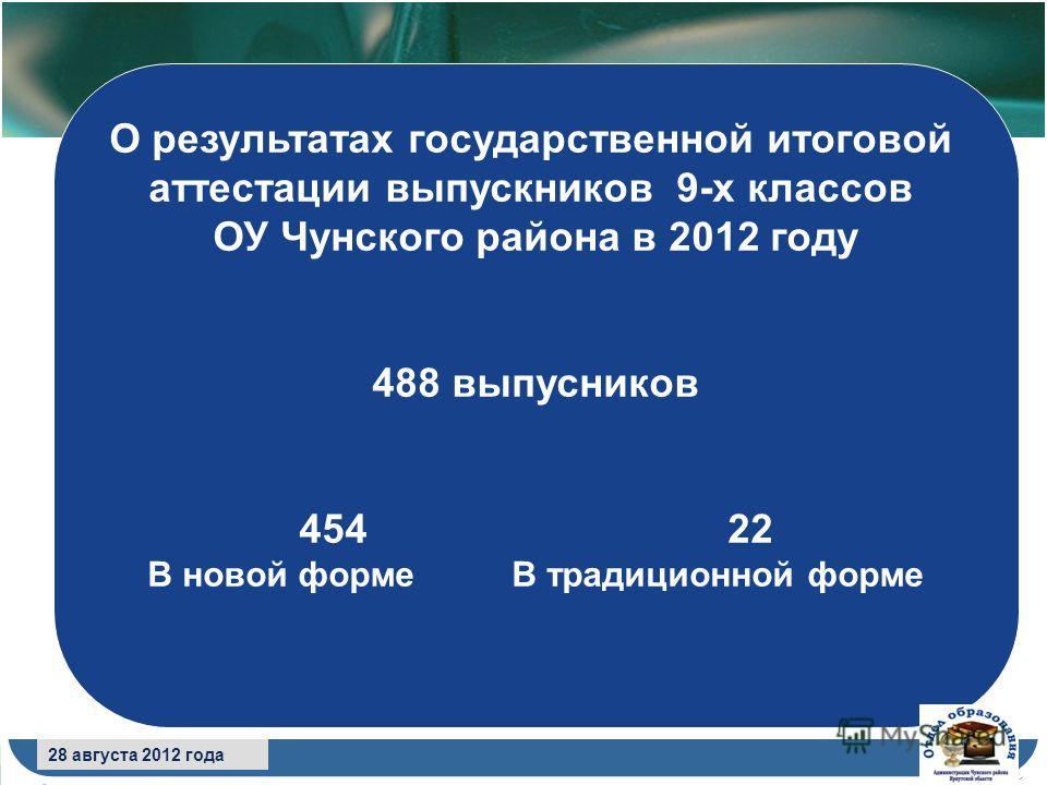 8 сентября 2009 года О результатах государственной итоговой аттестации выпускников 9-х классов ОУ Чунского района в 2012 году 488 выпусников 454 22 В новой форме В традиционной форме 28 августа 2012 года