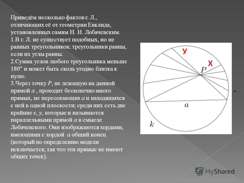 Приведём несколько фактов г. Л., отличающих её от геометрии Евклида, установленных самим Н. И. Лобачевским. 1.В г. Л. не существует подобных, но не равных треугольников; треугольники равны, если их углы равны. 2.Сумма углов любого треугольника меньше