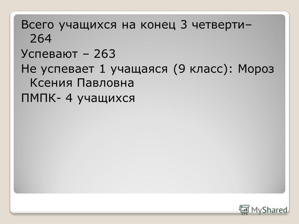Всего учащихся на конец 3 четверти– 264 Успевают – 263 Не успевает 1 учащаяся (9 класс): Мороз Ксения Павловна ПМПК- 4 учащихся