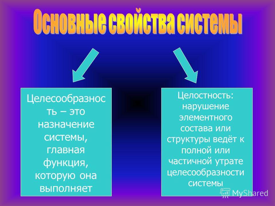 Целесообразнос ть – это назначение системы, главная функция, которую она выполняет Целостность: нарушение элементного состава или структуры ведёт к полной или частичной утрате целесообразности системы
