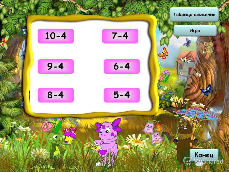 Таблица сложения Таблица сложения Игра Конец 610-4 59-4 48-4 37-4 26-4 15-4