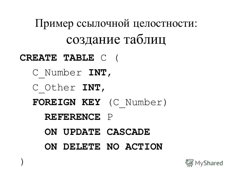 Пример ссылочной целостности: создание таблиц CREATE TABLE C ( C_Number INT, C_Other INT, FOREIGN KEY (C_Number) REFERENCE P ON UPDATE CASCADE ON DELETE NO ACTION )