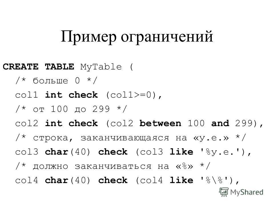 Пример ограничений CREATE TABLE MyTable ( /* больше 0 */ col1 int check (col1>=0), /* от 100 до 299 */ col2 int check (col2 between 100 and 299), /* строка, заканчивающаяся на «у.е.» */ col3 char(40) check (col3 like '%у.e.'), /* должно заканчиваться