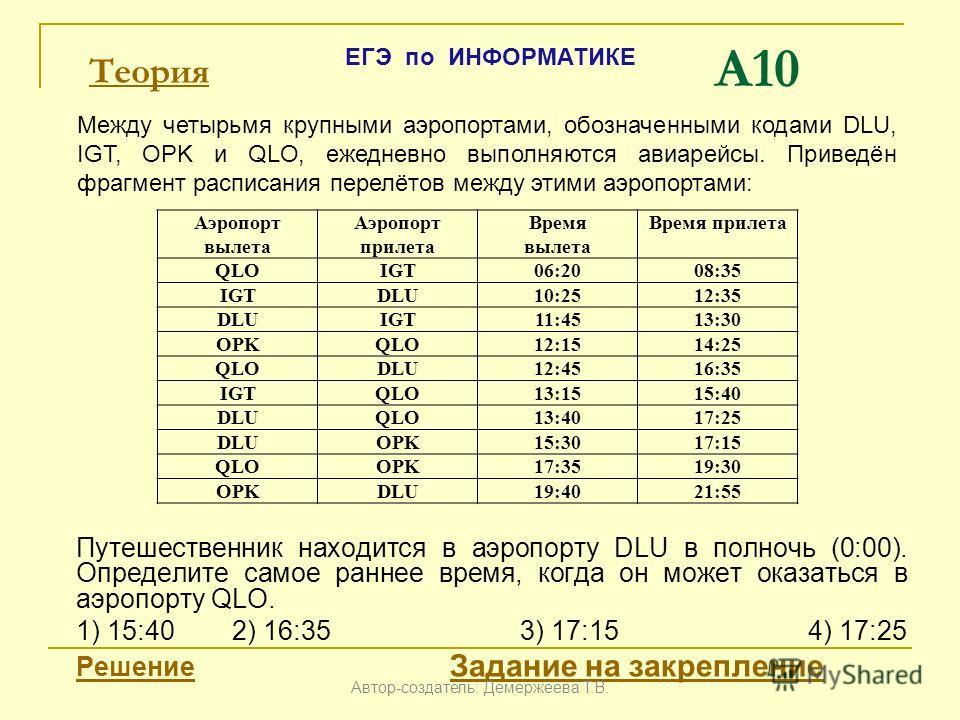 A10 Путешественник находится в аэропорту DLU в полночь (0:00). Определите самое раннее время, когда он может оказаться в аэропорту QLO. 1) 15:402) 16:353) 17:154) 17:25 Решение Задание на закреплениеРешение Задание на закрепление Аэропорт вылета Аэро