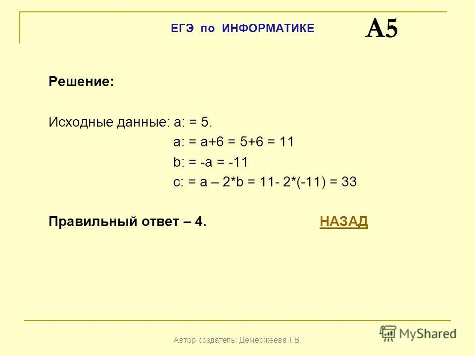 Решение: Исходные данные: a: = 5. a: = a+6 = 5+6 = 11 b: = -a = -11 c: = a – 2*b = 11- 2*(-11) = 33 Правильный ответ – 4. НАЗАДНАЗАД A5 Автор-создатель: Демержеева Т.В. ЕГЭ по ИНФОРМАТИКЕ