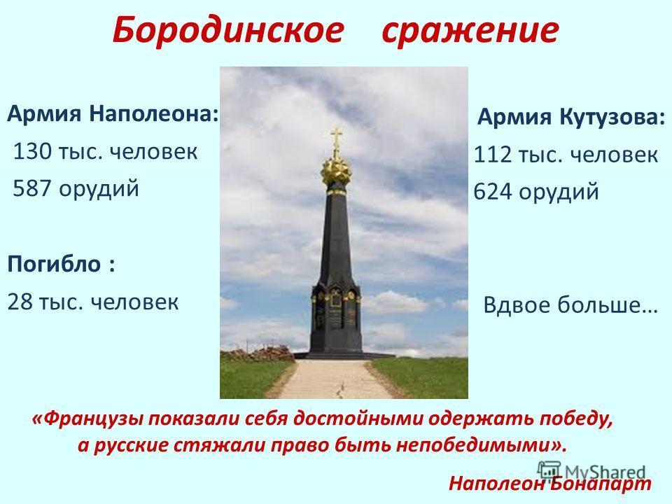 Армия Наполеона: 130 тыс. человек 587 орудий Погибло : 28 тыс. человек Армия Кутузова: 112 тыс. человек 624 орудий Вдвое больше… Бородинское сражение «Французы показали себя достойными одержать победу, а русские стяжали право быть непобедимыми». Напо