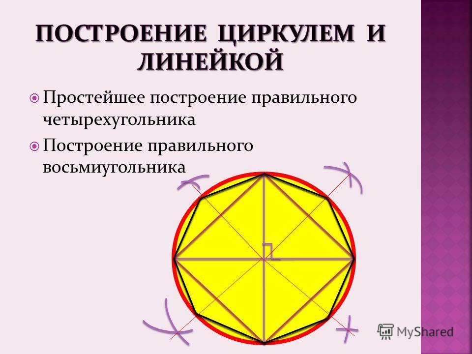 Простейшее построение правильного четырехугольника Построение правильного восьмиугольника