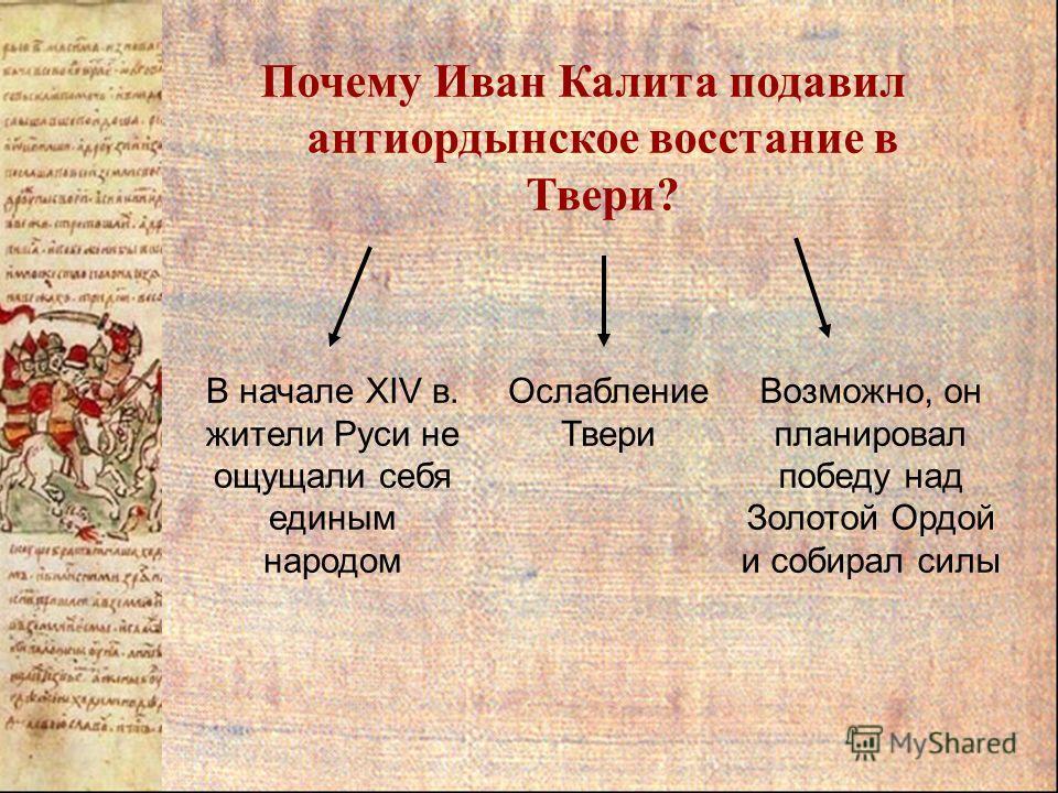 Почему Иван Калита подавил антиордынское восстание в Твери? В начале XIV в. жители Руси не ощущали себя единым народом Ослабление Твери Возможно, он планировал победу над Золотой Ордой и собирал силы
