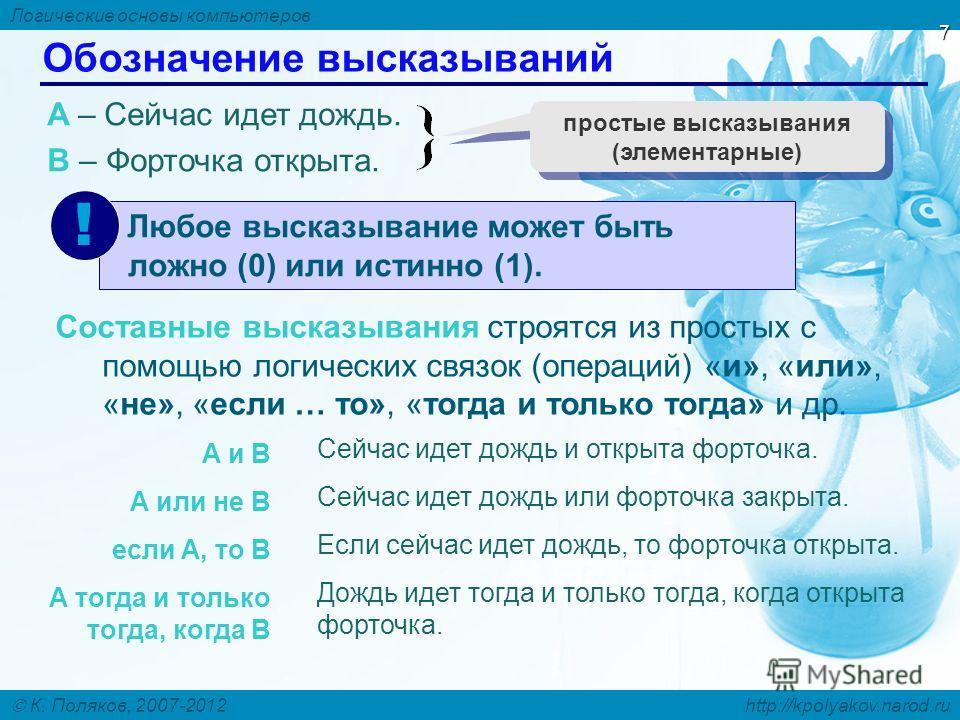 Логические основы компьютеров К. Поляков, 2007-2012 http://kpolyakov.narod.ru 7 Обозначение высказываний A – Сейчас идет дождь. B – Форточка открыта. простые высказывания (элементарные) Составные высказывания строятся из простых с помощью логических