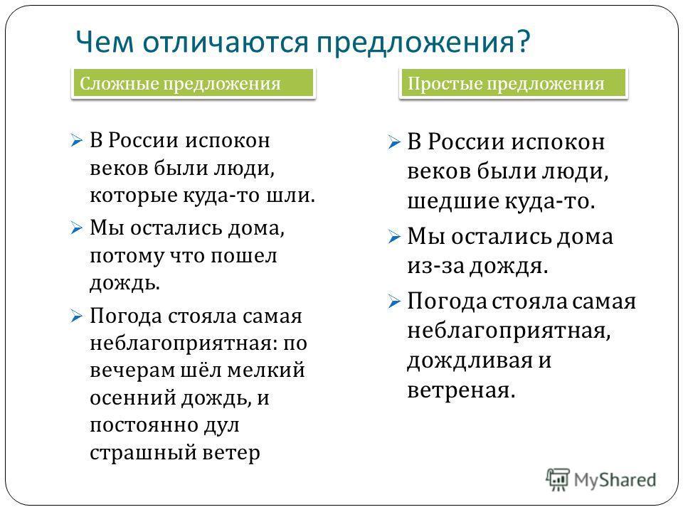 Чем отличаются предложения ? В России испокон веков были люди, которые куда - то шли. Мы остались дома, потому что пошел дождь. Погода стояла самая неблагоприятная : по вечерам шёл мелкий осенний дождь, и постоянно дул страшный ветер В России испокон