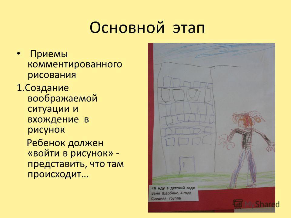 Основной этап Приемы комментированного рисования 1.Создание воображаемой ситуации и вхождение в рисунок Ребенок должен «войти в рисунок» - представить, что там происходит…