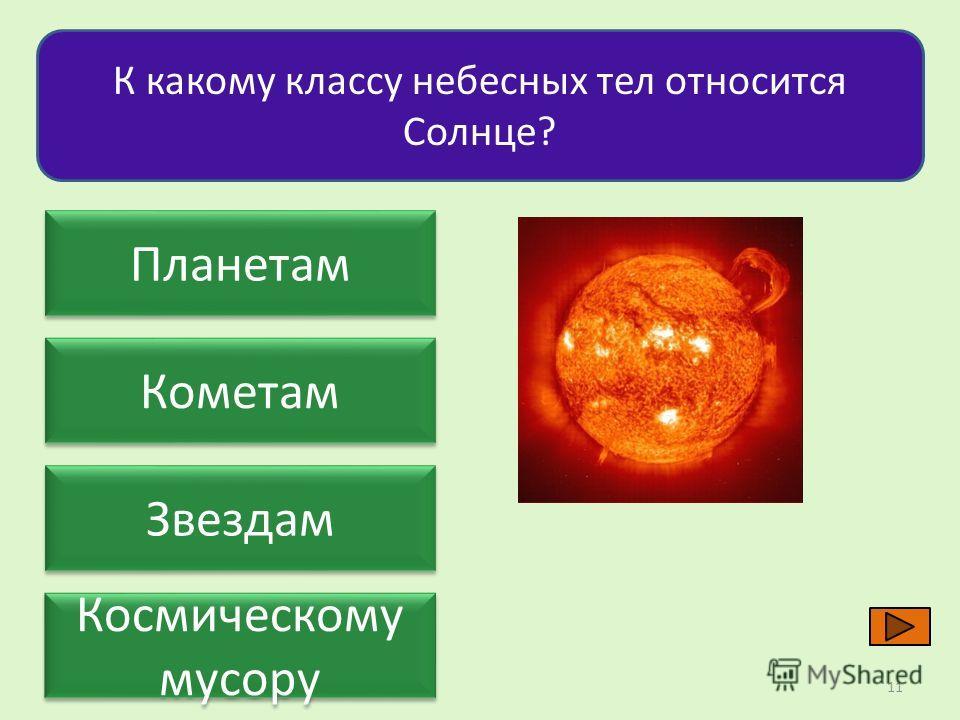 Планетам Кометам Звездам Космическому мусору К какому классу небесных тел относится Солнце? 11