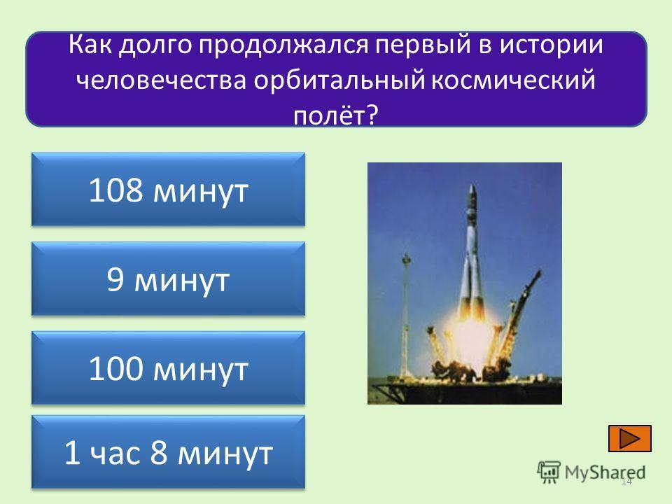 Как долго продолжался первый в истории человечества орбитальный космический полёт? 108 минут 100 минут 9 минут 1 час 8 минут 14