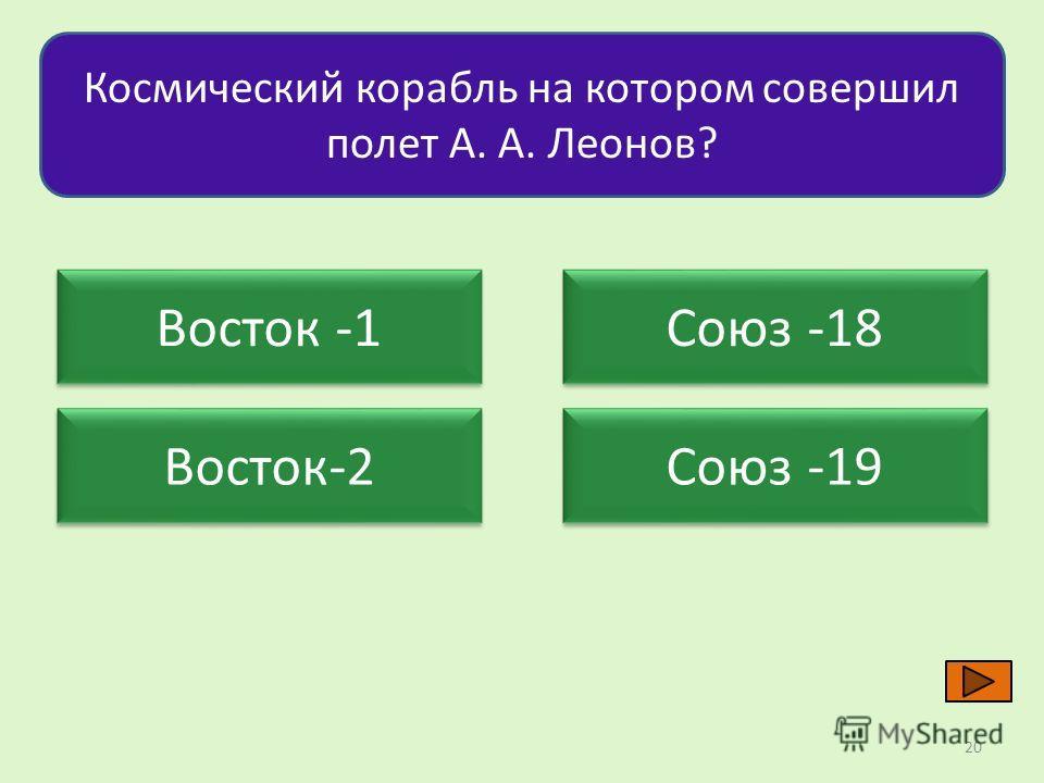 Космический корабль на котором совершил полет А. А. Леонов? Восток -1 Восток-2 Союз -18 Союз -19 20