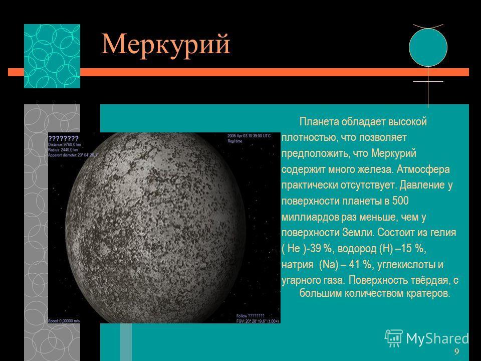 9 Меркурий Планета обладает высокой плотностью, что позволяет предположить, что Меркурий содержит много железа. Атмосфера практически отсутствует. Давление у поверхности планеты в 500 миллиардов раз меньше, чем у поверхности Земли. Состоит из гелия (