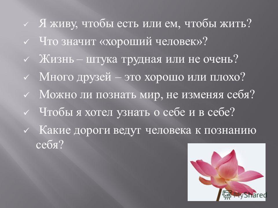 Я живу, чтобы есть или ем, чтобы жить ? Что значит « хороший человек »? Жизнь – штука трудная или не очень ? Много друзей – это хорошо или плохо ? Можно ли познать мир, не изменяя себя ? Чтобы я хотел узнать о себе и в себе ? Какие дороги ведут челов
