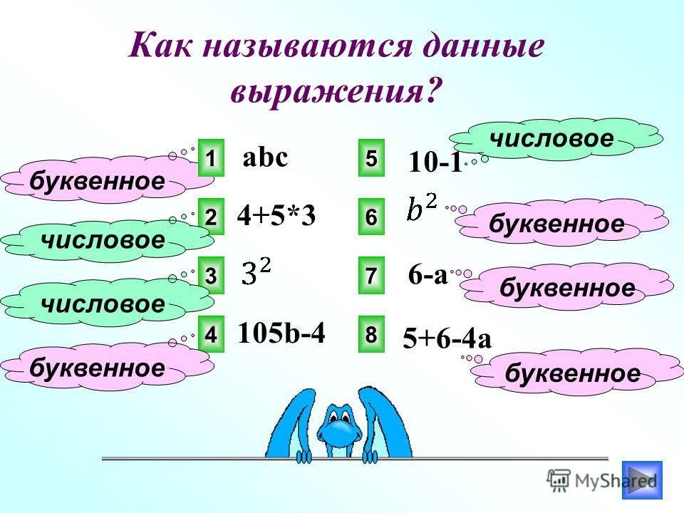 Как называются данные выражения? 1 2 3 4 5 6 7 8 abc буквенное 4+5*3 числовое 105b-4 буквенное 10-1 числовое 6-a 5+6-4a буквенное
