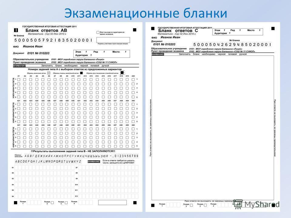 Экзаменационные бланки