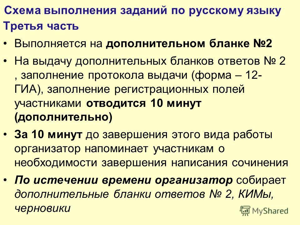 Схема выполнения заданий по русскому языку Третья часть Выполняется на дополнительном бланке 2 На выдачу дополнительных бланков ответов 2, заполнение протокола выдачи (форма – 12- ГИА), заполнение регистрационных полей участниками отводится 10 минут