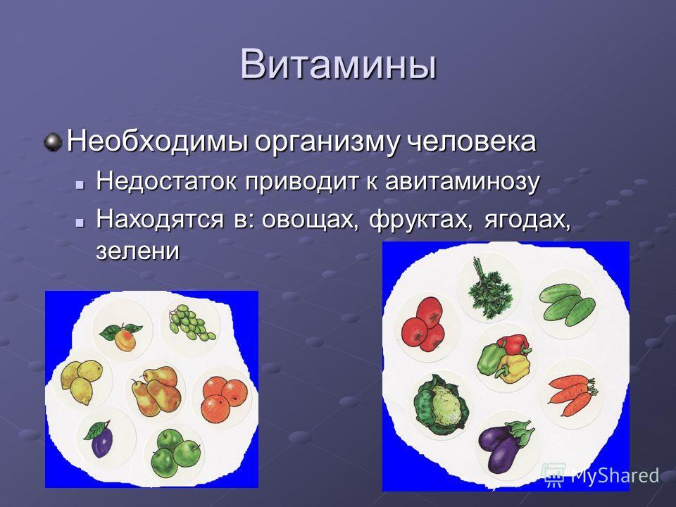 Витамины Необходимы организму человека Недостаток приводит к авитаминозу Недостаток приводит к авитаминозу Находятся в: овощах, фруктах, ягодах, зелени Находятся в: овощах, фруктах, ягодах, зелени