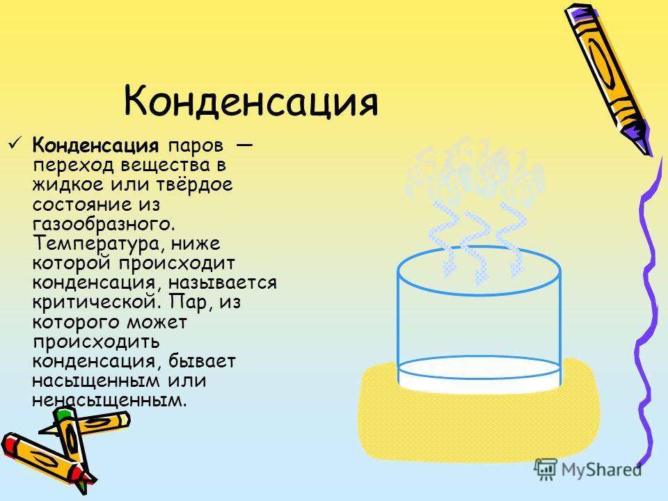 Конденсация Конденсация паров переход вещества в жидкое или твёрдое состояние из газообразного. Температура, ниже которой происходит конденсация, называется критической. Пар, из которого может происходить конденсация, бывает насыщенным или ненасыщенн