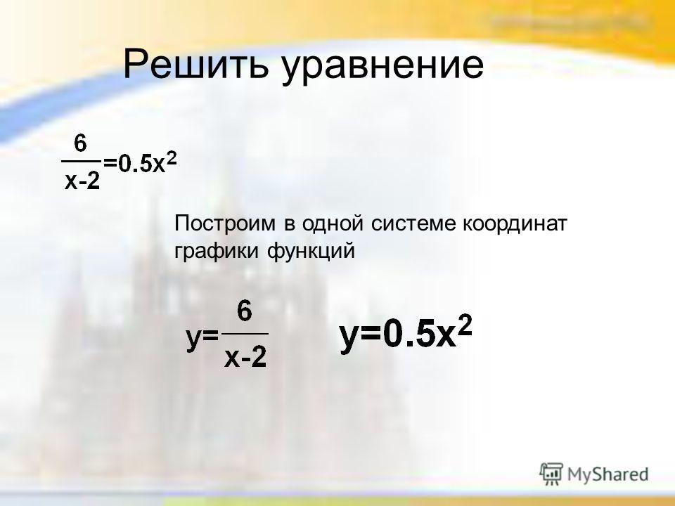 Решить уравнение Построим в одной системе координат графики функций