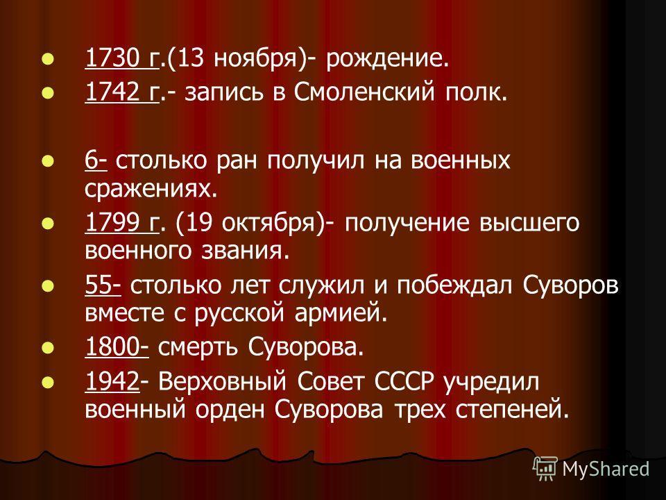 1730 г.(13 ноября)- рождение. 1742 г.- запись в Смоленский полк. 6- столько ран получил на военных сражениях. 1799 г. (19 октября)- получение высшего военного звания. 55- столько лет служил и побеждал Суворов вместе с русской армией. 1800- смерть Сув