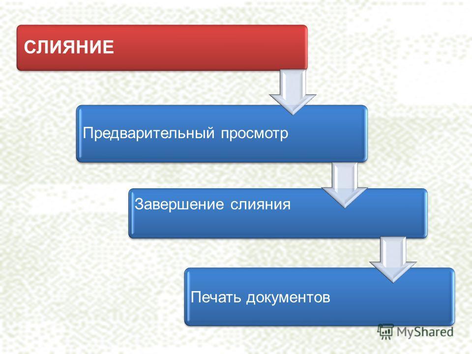 СЛИЯНИЕ Предварительный просмотр Завершение слияния Печать документов
