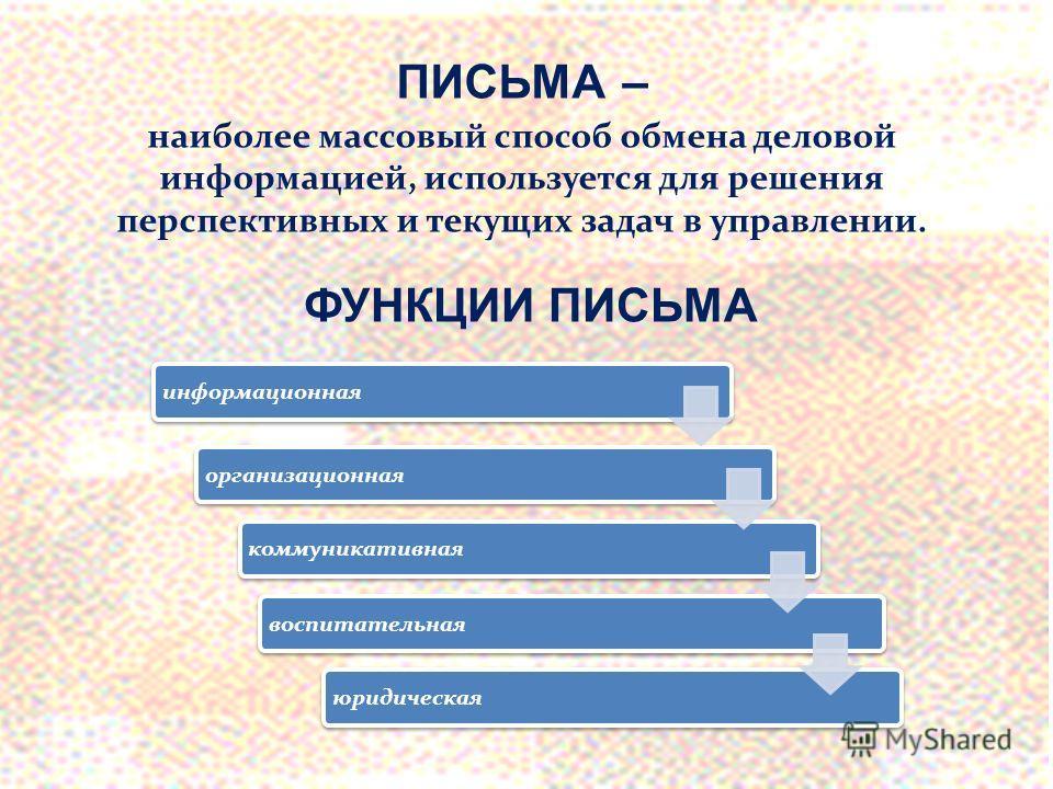 ПИСЬМА – наиболее массовый способ обмена деловой информацией, используется для решения перспективных и текущих задач в управлении. ФУНКЦИИ ПИСЬМА информационнаяорганизационная коммуникативная воспитательная юридическая