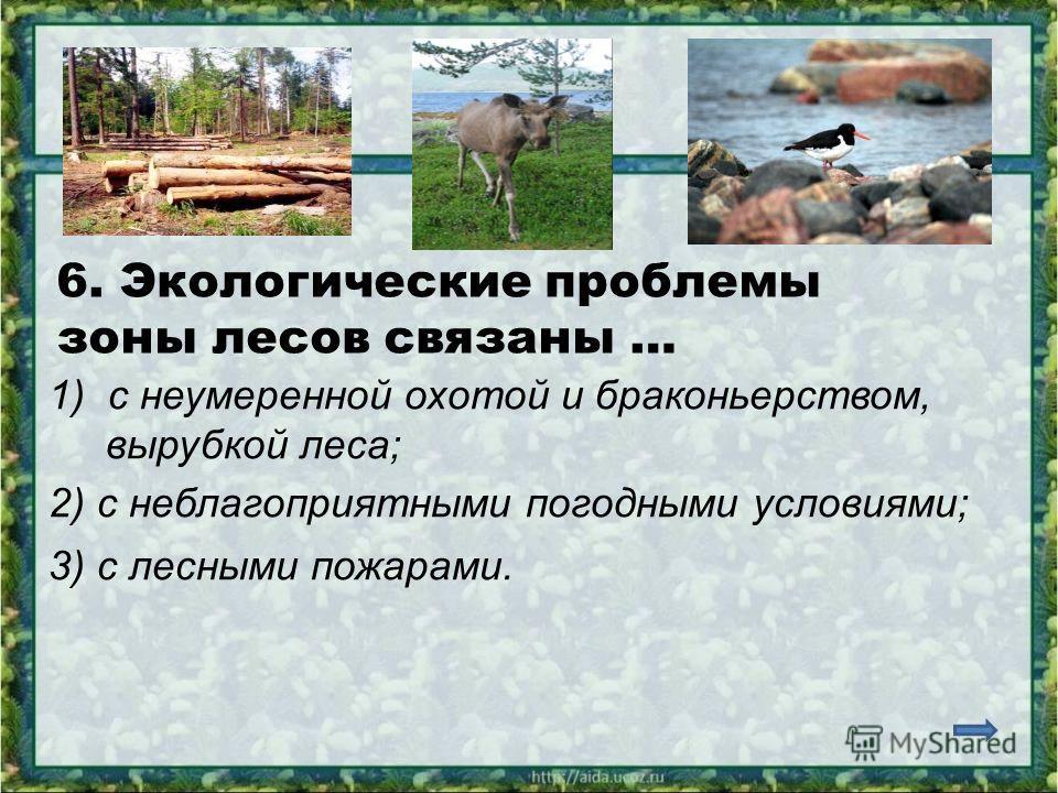 6. Экологические проблемы зоны лесов связаны … 1)с неумеренной охотой и браконьерством, вырубкой леса; 2) с неблагоприятными погодными условиями; 3) с лесными пожарами.