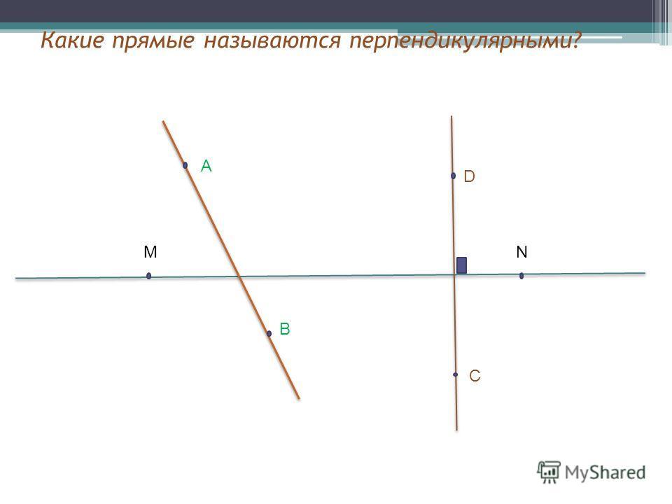 MN B A D C Какие прямые называются перпендикулярными?