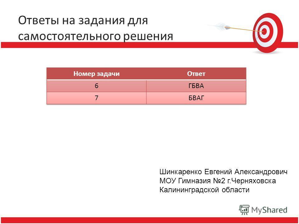 Ответы на задания для самостоятельного решения Шинкаренко Евгений Александрович МОУ Гимназия 2 г.Черняховска Калининградской области