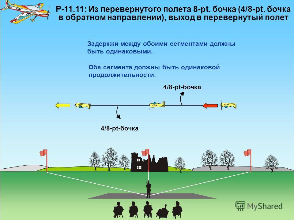P-11.11: Из перевернутого полета 8-pt. бочка (4/8-pt. бочка в обратном направлении), выход в перевернутый полет 4/8-pt-бочка Задержки между обоими сегментами должны быть одинаковыми. Оба сегмента должны быть одинаковой продолжительности.