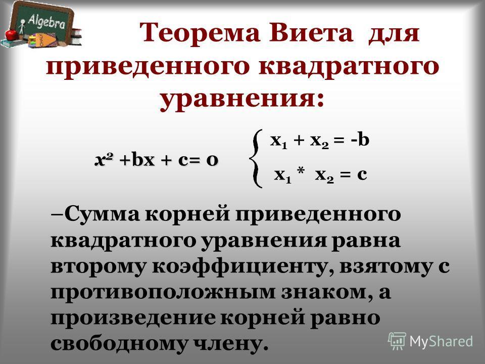 Теорема Виета для приведенного квадратного уравнения: –Сумма корней приведенного квадратного уравнения равна второму коэффициенту, взятому с противоположным знаком, а произведение корней равно свободному члену. x 1 + x 2 = -b x 1 * x 2 = c x 2 +bx +