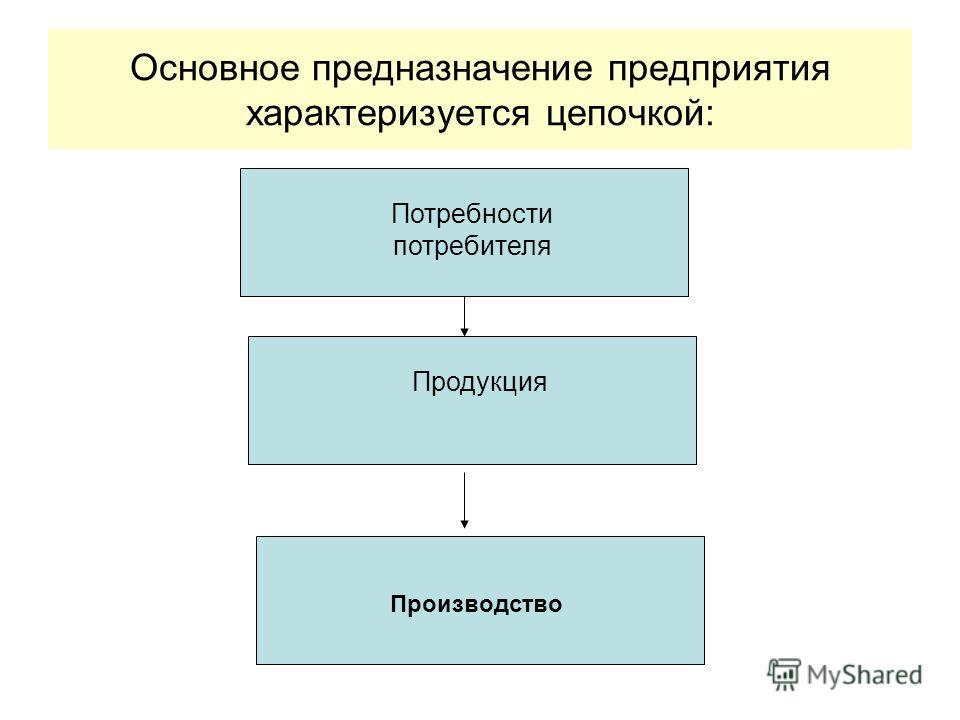 Основное предназначение предприятия характеризуется цепочкой: Потребности потребителя Продукция Производство