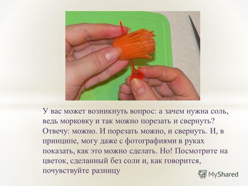 У вас может возникнуть вопрос: а зачем нужна соль, ведь морковку и так можно порезать и свернуть? Отвечу: можно. И порезать можно, и свернуть. И, в принципе, могу даже с фотографиями в руках показать, как это можно сделать. Но! Посмотрите на цветок,