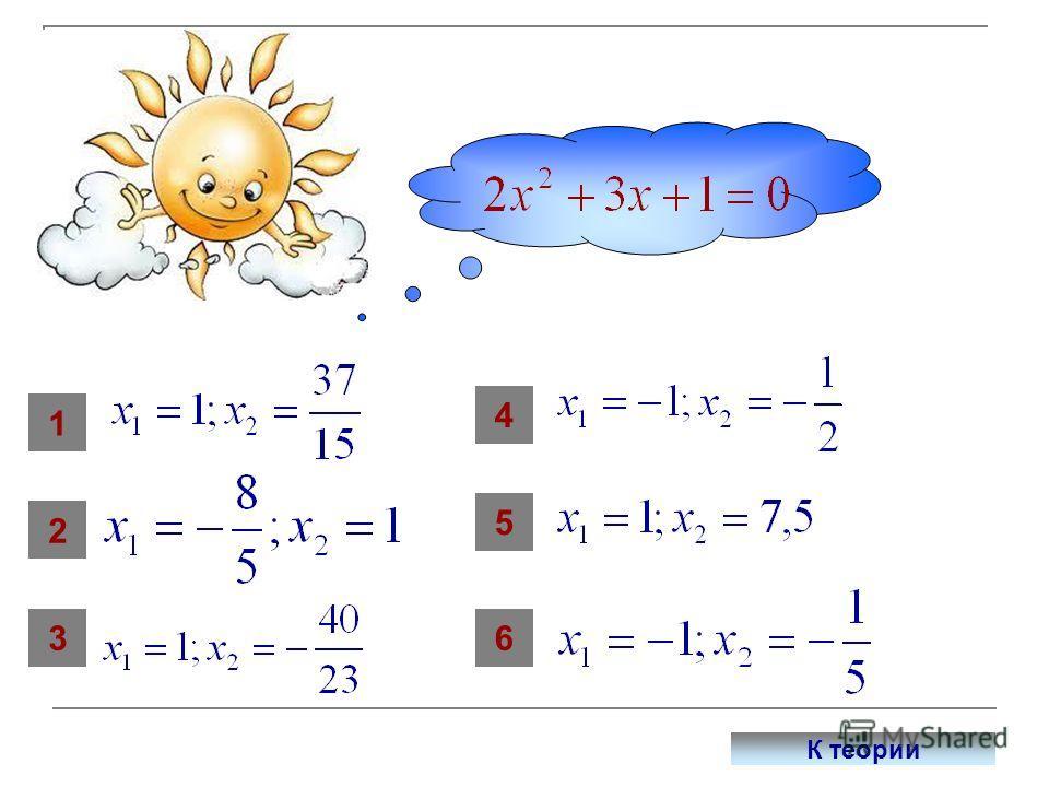 Сопоставь уравнению его корни 1 36 5 4 2 К теории